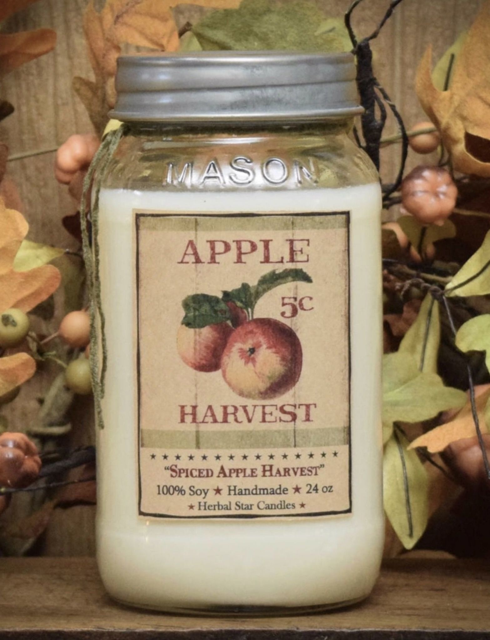 Herbal Star Candles Spiced Apple Harvest Soy Jar Candle 24oz