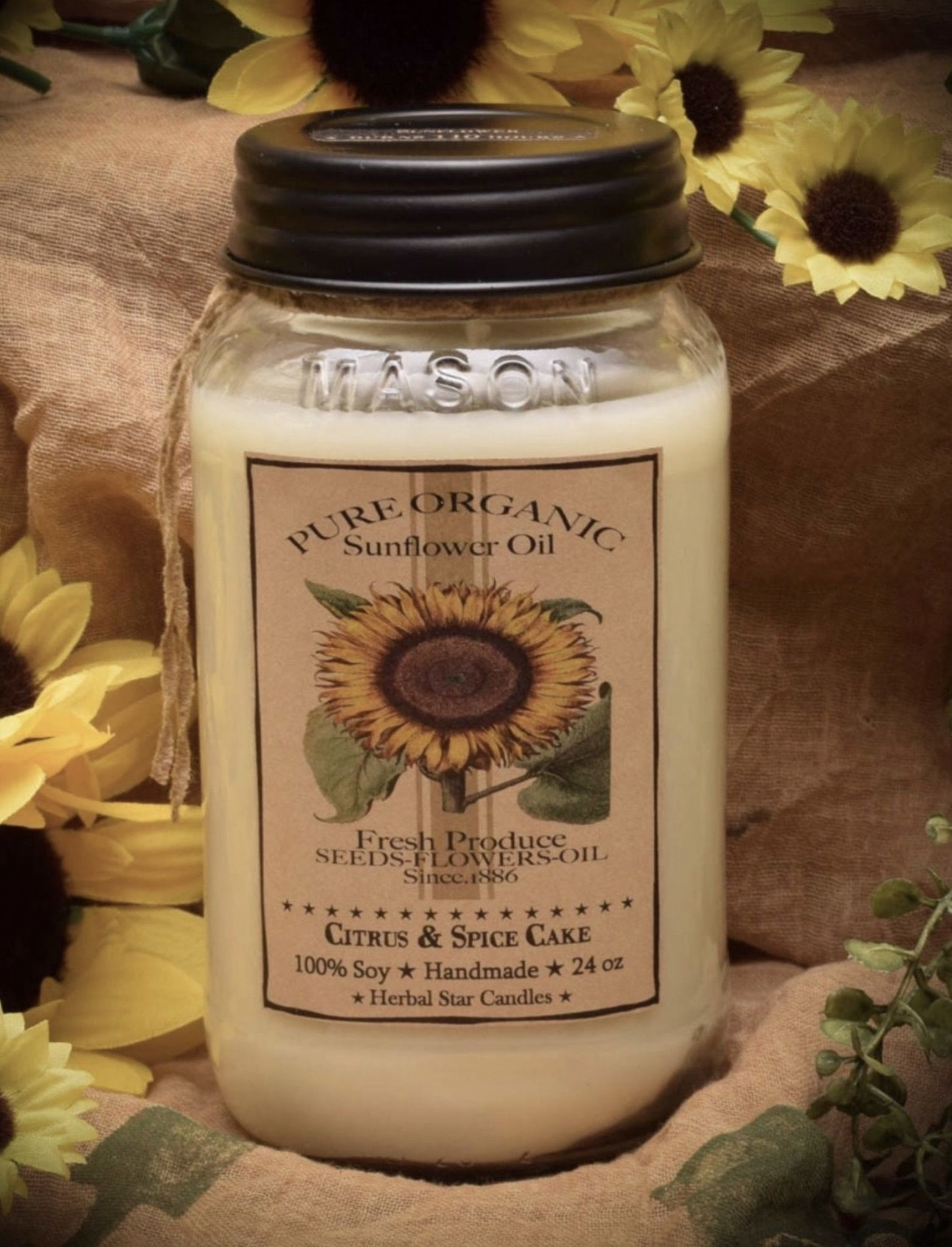 Herbal Star Candles Sunflower Soy Jar Candle 24oz