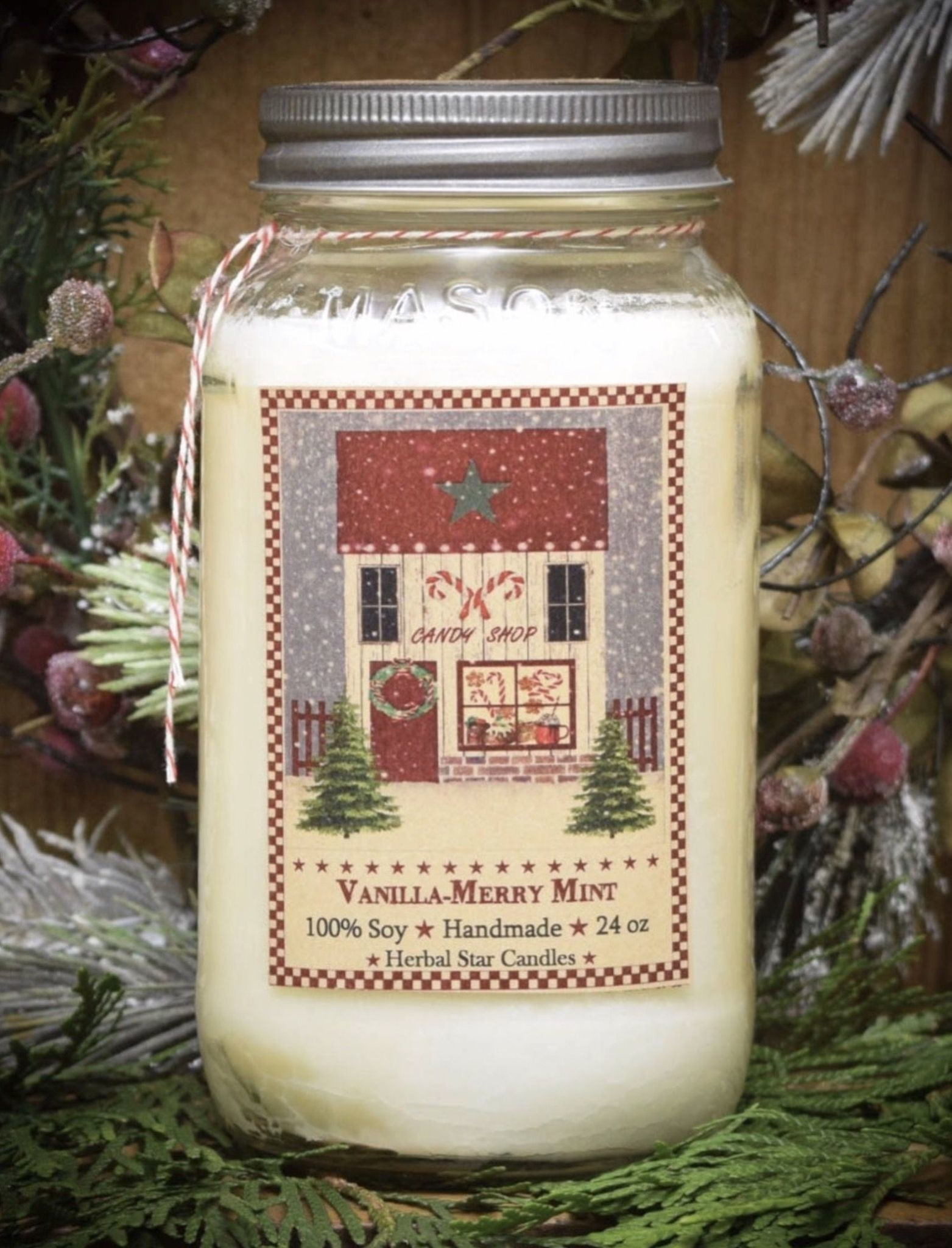 Herbal Star Candles Vanilla-Merry Mint Soy Jar Candle 24oz
