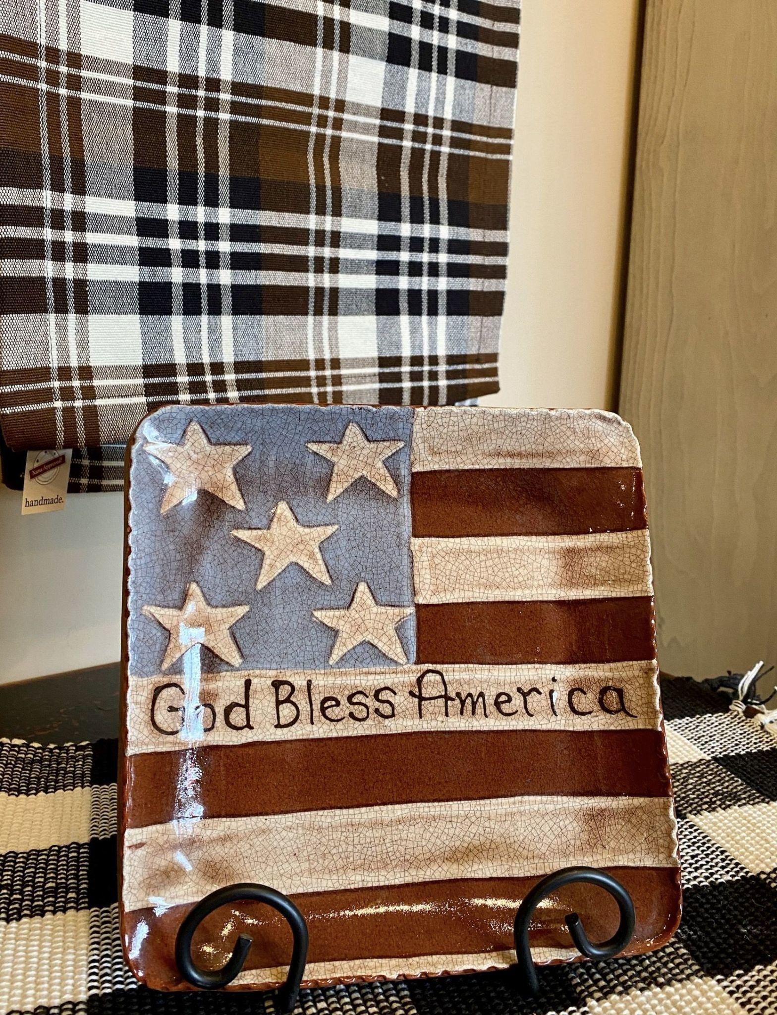 Smith Redware God Bless America Flag Plate