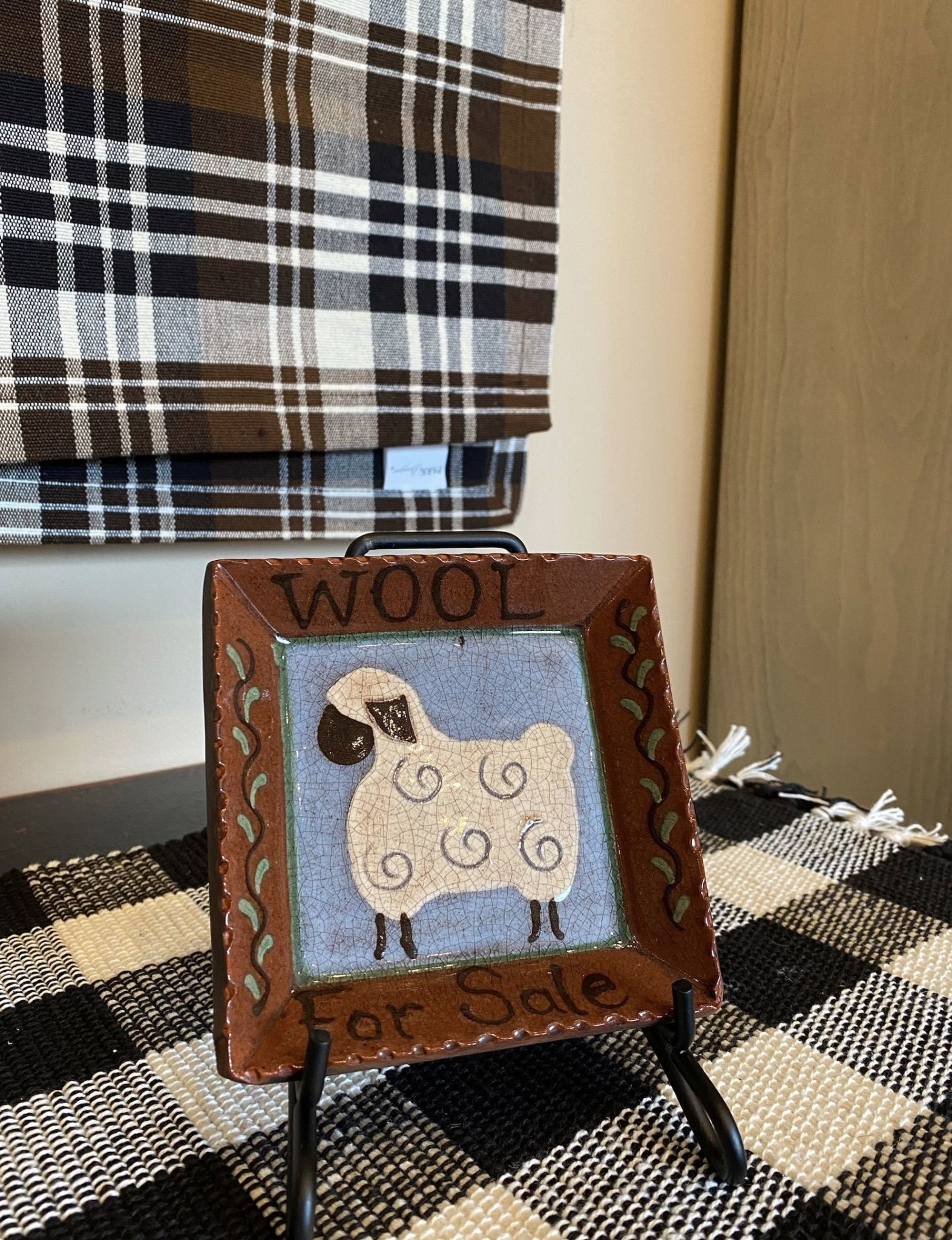 Smith Redware Wool For Sale Square Plate