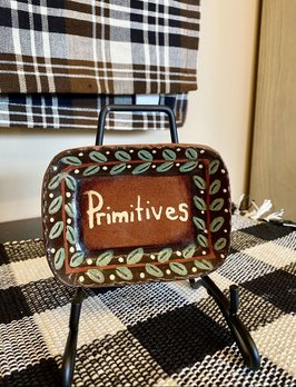 Smith Redware Primitives Square Plate with Black Border