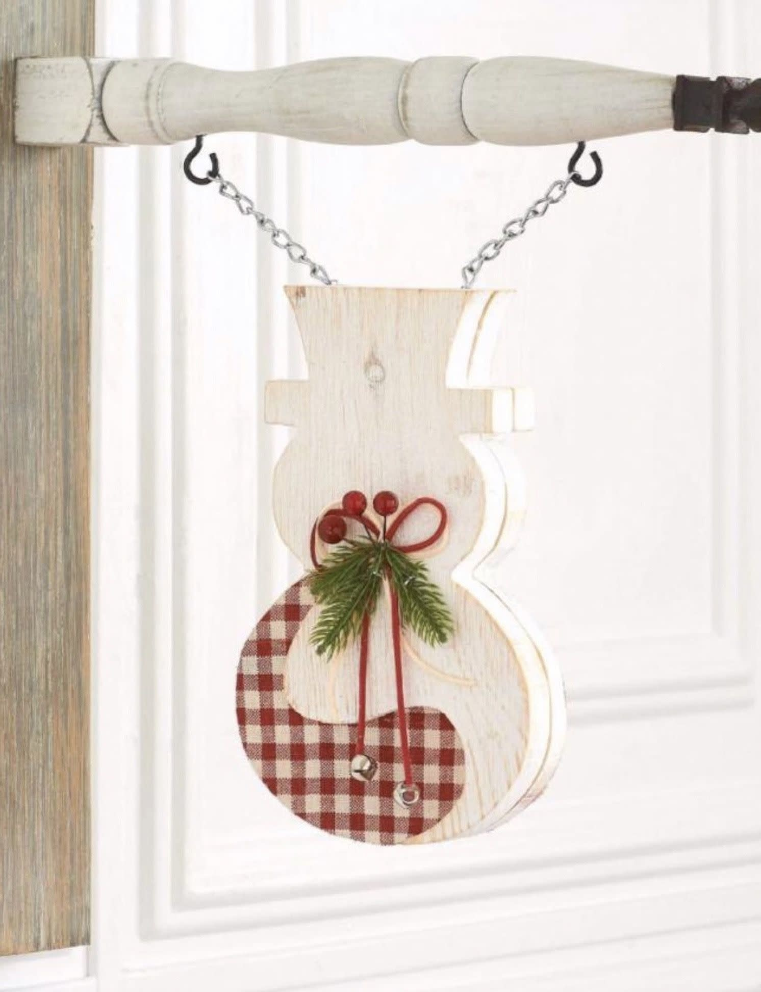 K & K Interiors White & Red Gingham Double Sided Snowman Arrow Replacement