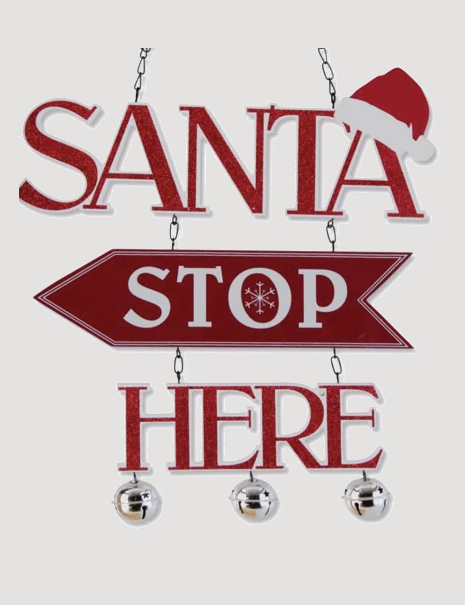 K & K Interiors Glittered Red & White Santa Stop Here Arrow Replacement