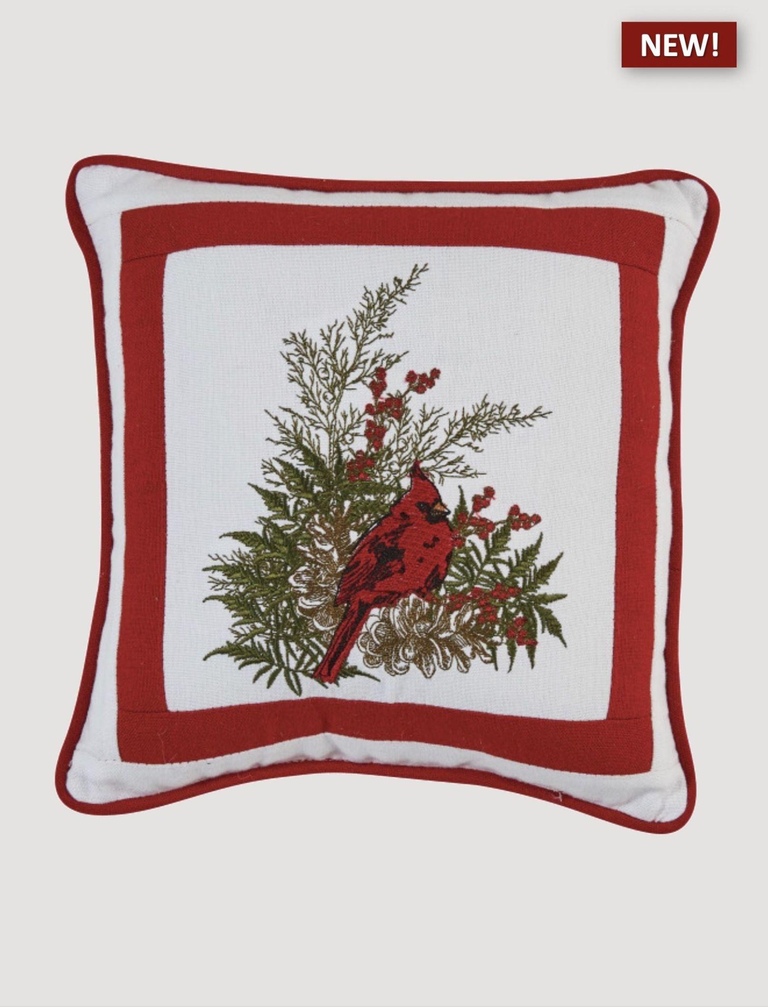 "Park Designs Cardinal Embroidered Pillow - 10"""