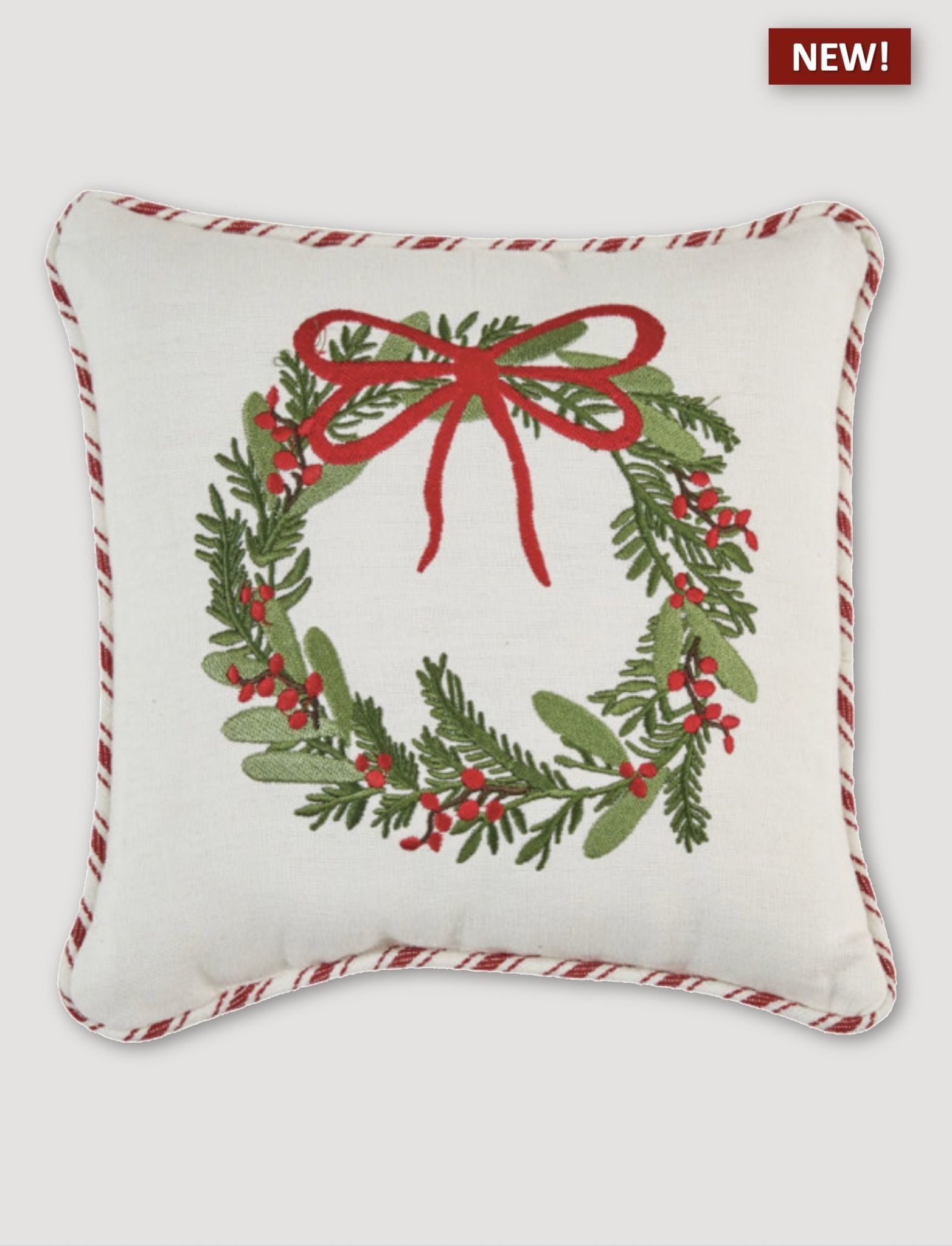"""Park Designs Wreath Embroidered Pillow - 10"""""""