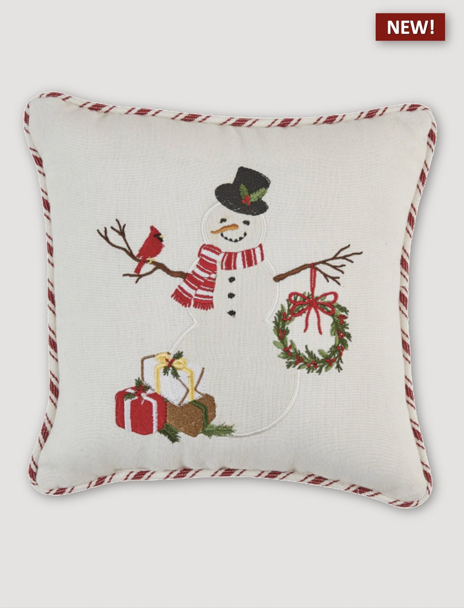 """Park Designs Snowman with Cardinal Embroidered Pillow - 10"""""""