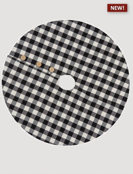 Park Designs Wicklow Check Tree Skirt Black & Cream