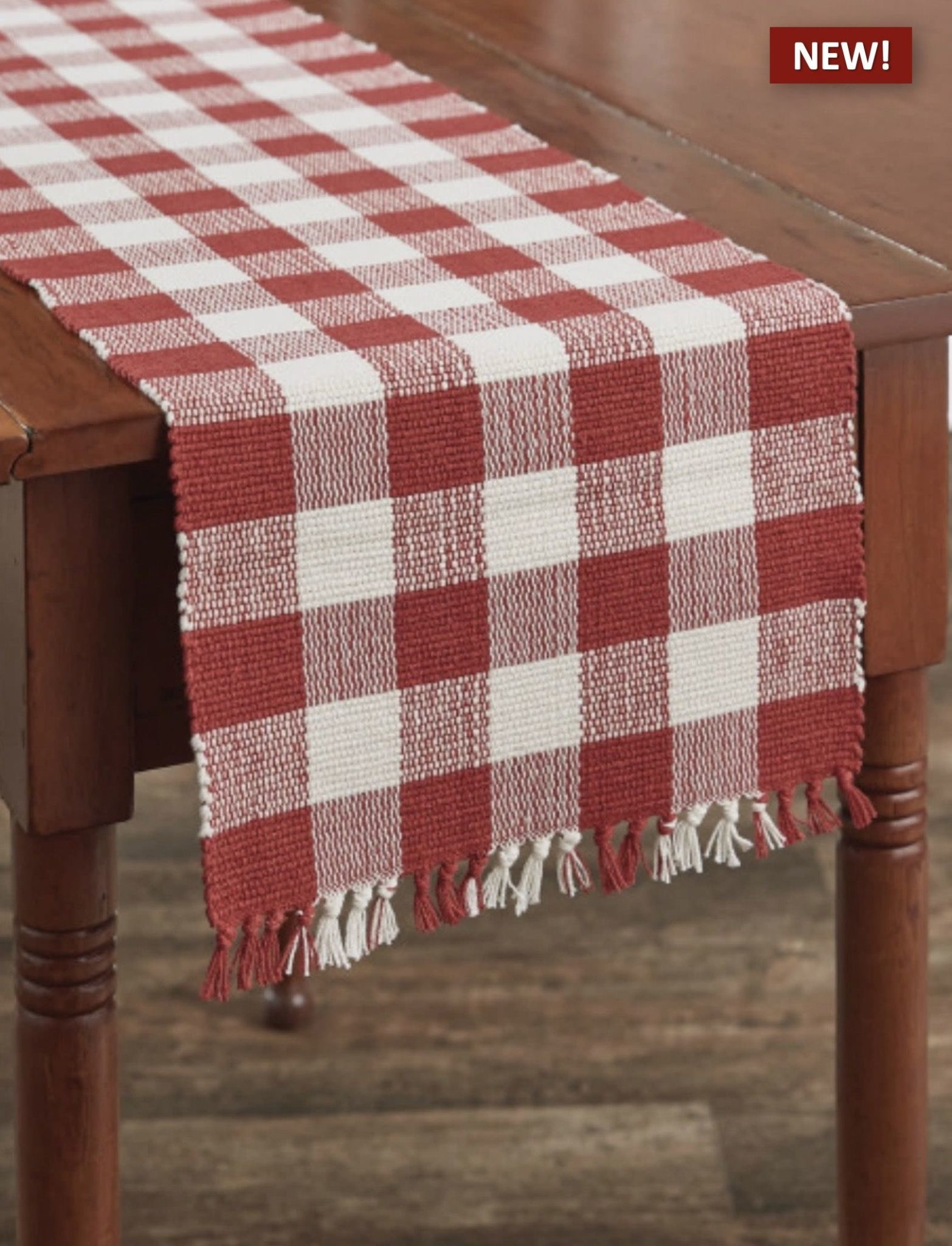 """Park Designs Wicklow Check Table Runner Red & Cream - 13"""" x 54"""""""