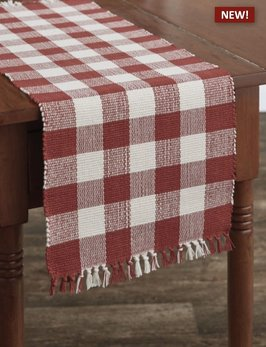 Park Designs Wicklow Check Table Runner Red & Cream