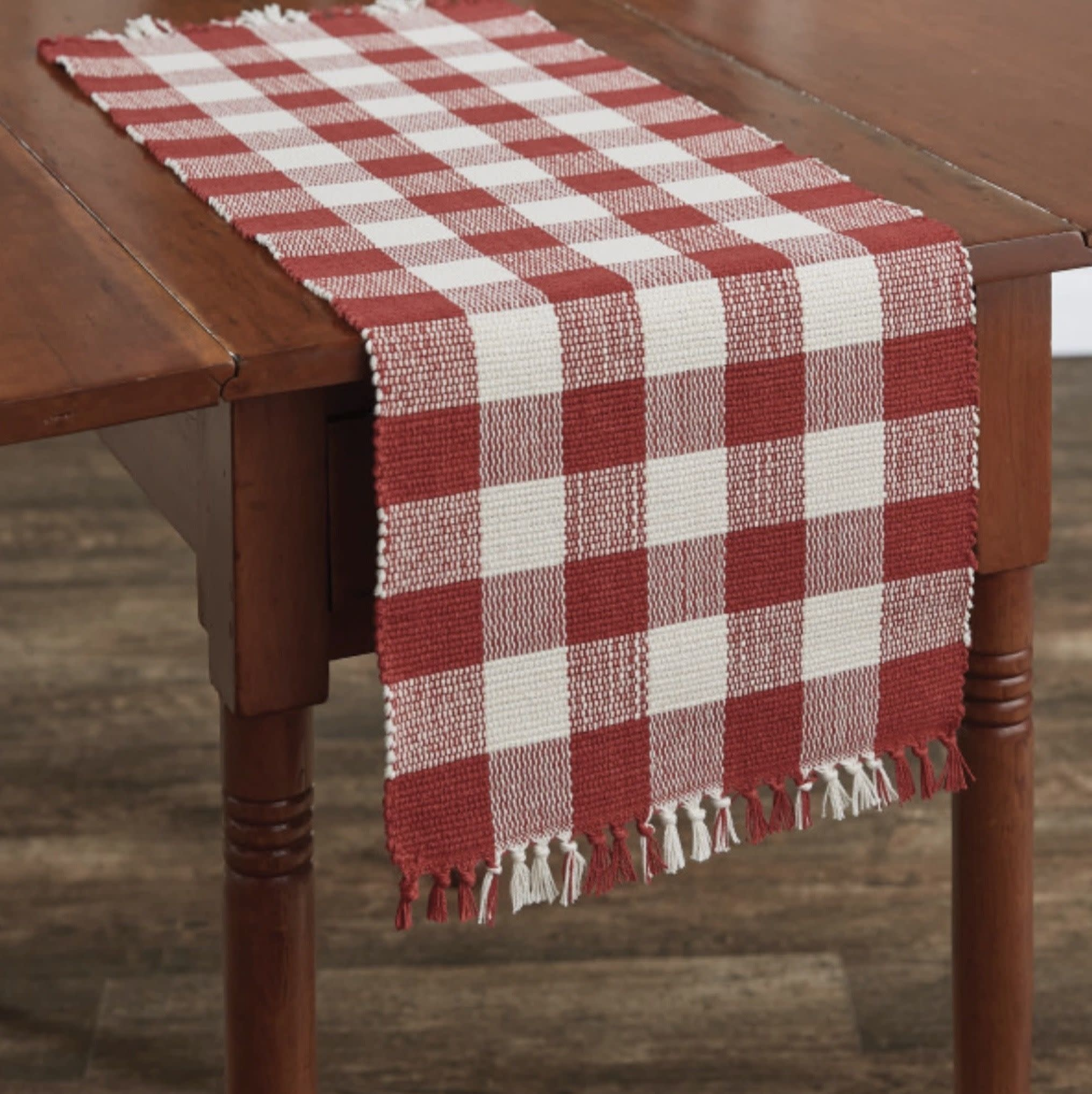 "Park Designs Wicklow Check Table Runner Red & Cream  13"" x 36"""
