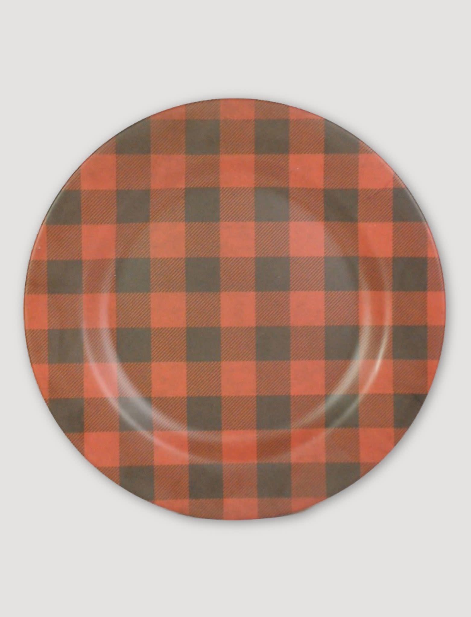 "Ragon House Collection Red & Black Buffalo Check Charger - 12"""