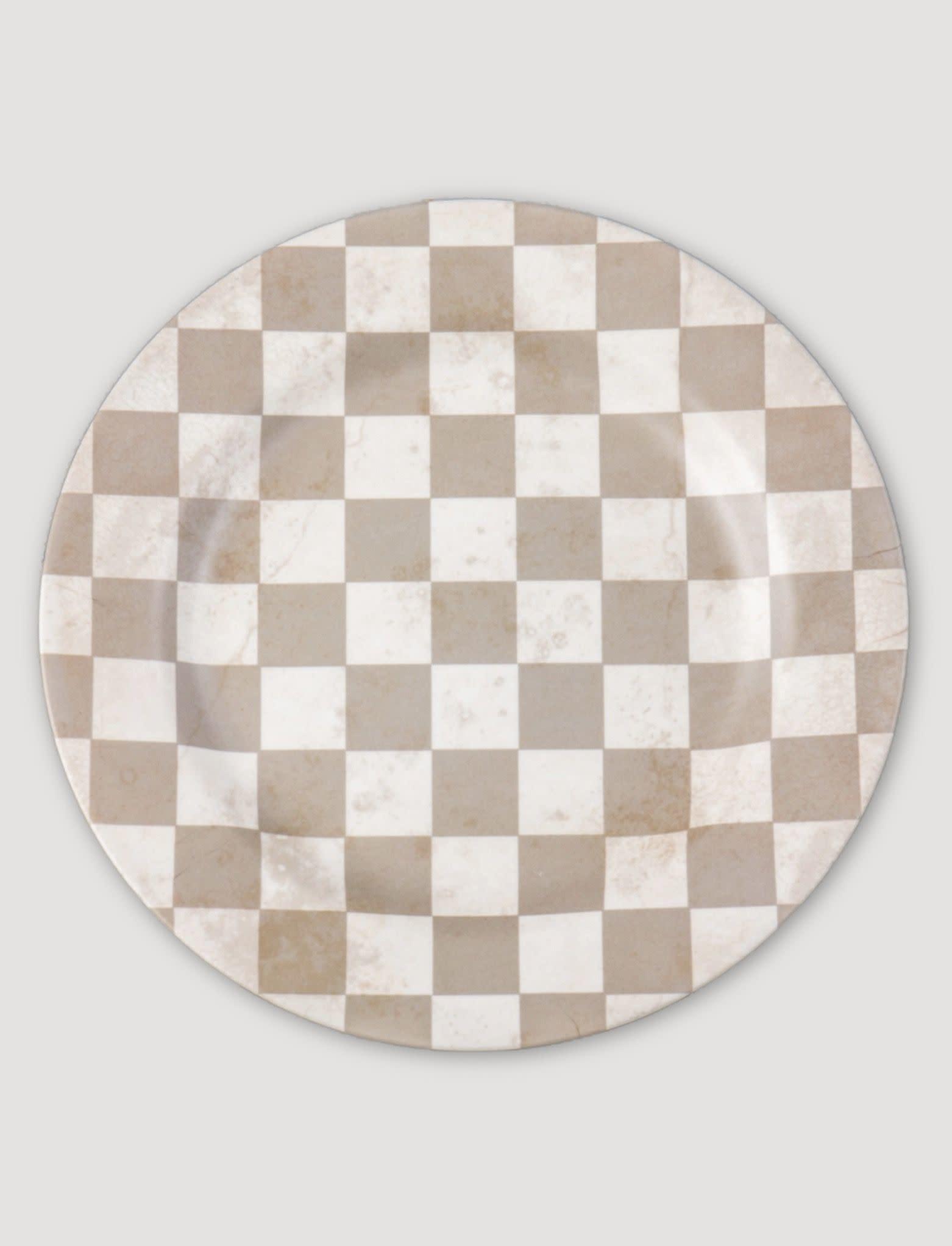 "Ragon House Collection Grey Check Charger - 12"""