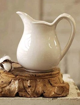 Lancaster Home and Vintage Floral White Stone Pitcher