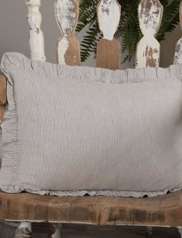VHC Brands Dakota Star Farmhouse Blue Ticking Stripe Fabric Pillow