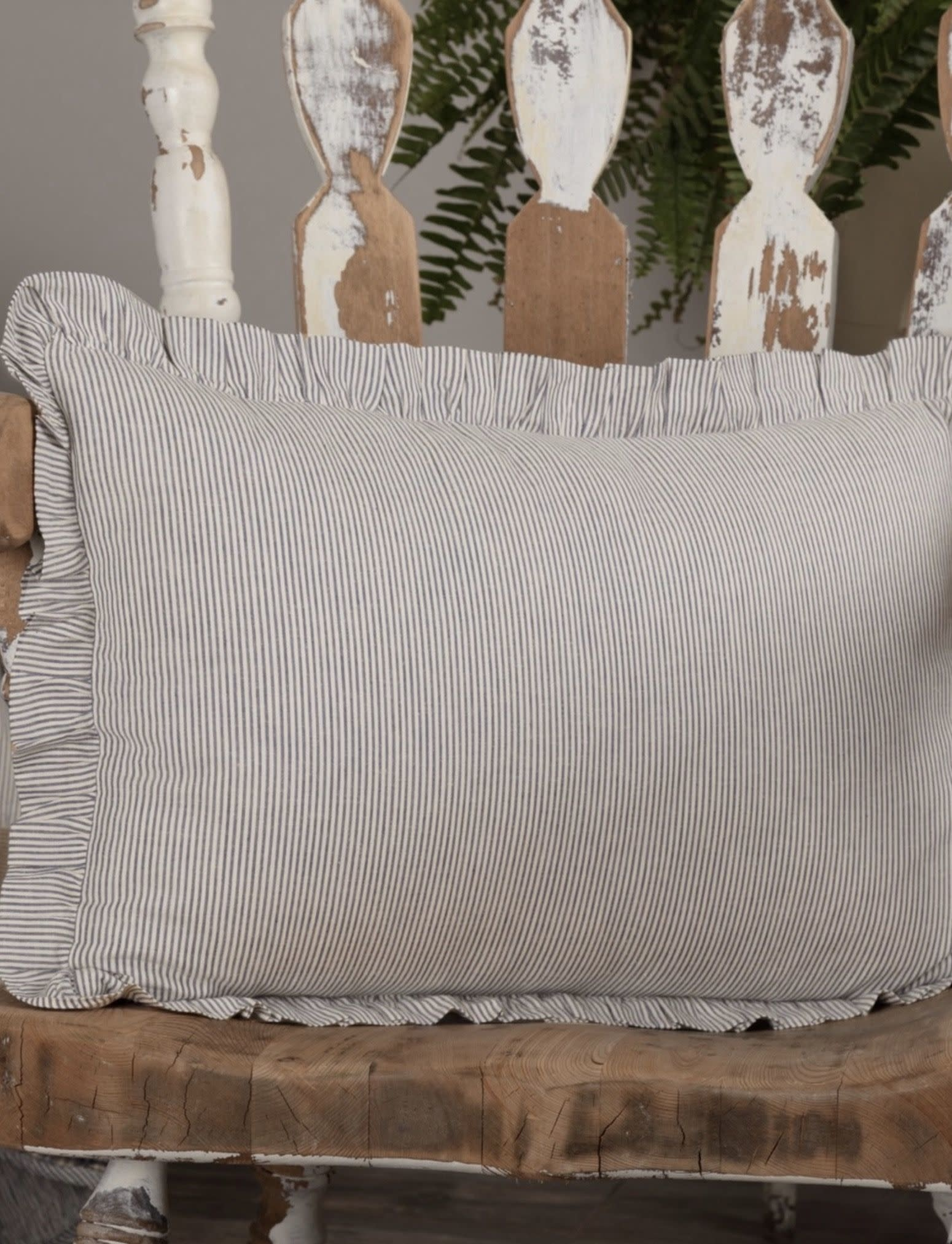 "VHC Brands Dakota Star Farmhouse Blue Ticking Stripe Fabric Pillow 14"" x 22"""
