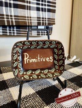 Smith Redware Primitives Square Plate with Black Border
