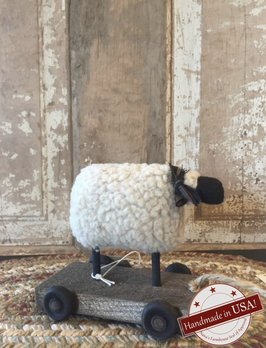Nana's Farmhouse Primitive Sheep On Cart Pull Toy