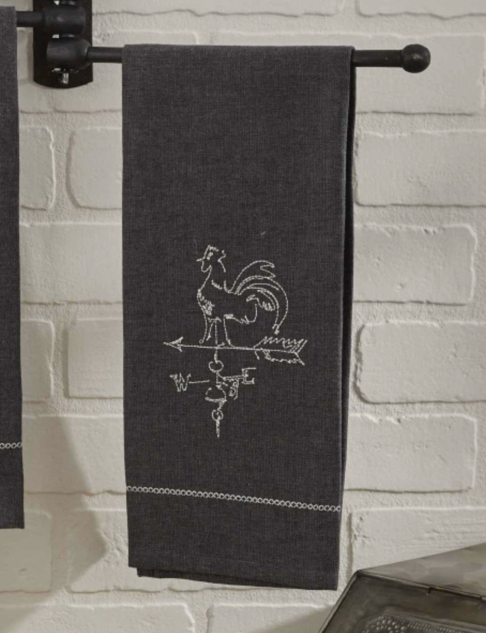 """Park Designs Rooster Vane Embroidered Dish Towel - 18"""" x 28"""""""