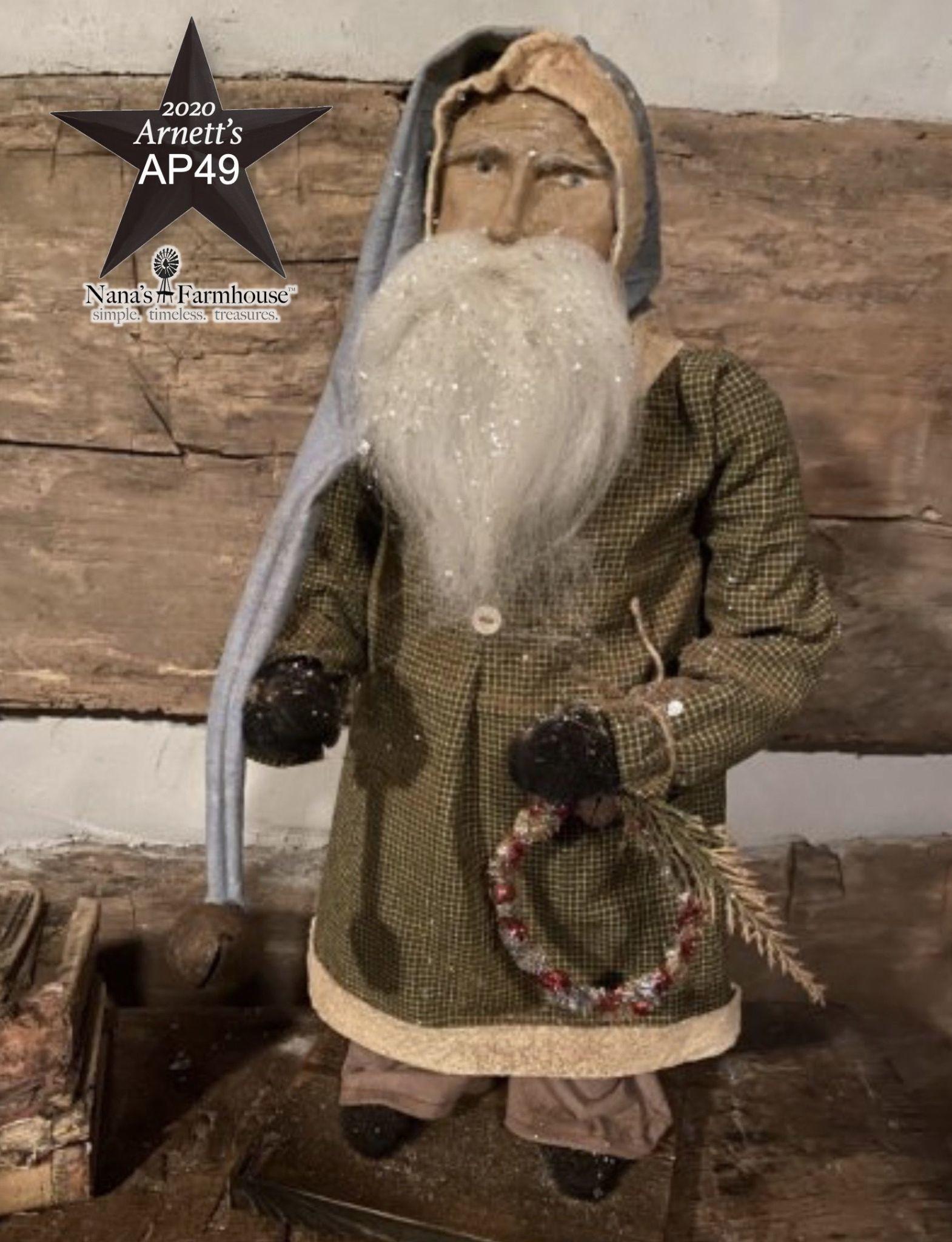 Arnett's AP49 Arnett's Santa Green Homespun Coat with Wreath