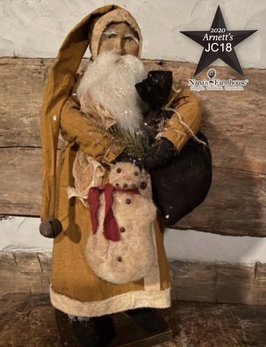Arnett's JC18 Arnett's Santa Mustard Coat Holding Snowman & Black Bag