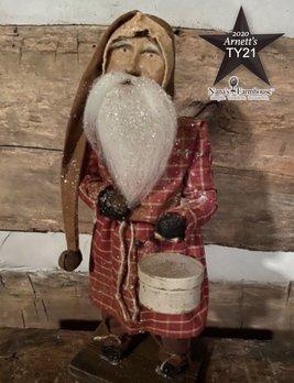 Arnett's TY21 Arnett's Santa Red Homespun Night Shirt Holding Gray Pantry Box