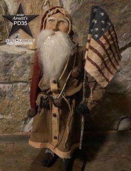 Arnett's PD35 Arnett's Santa Tall Slim Brown Homespun Suit Holding Flag