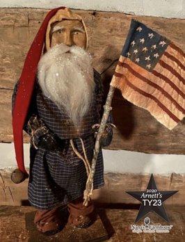 Arnett's TY23 Arnett's Santa Navy Homspun Night Shirt Holding Flag