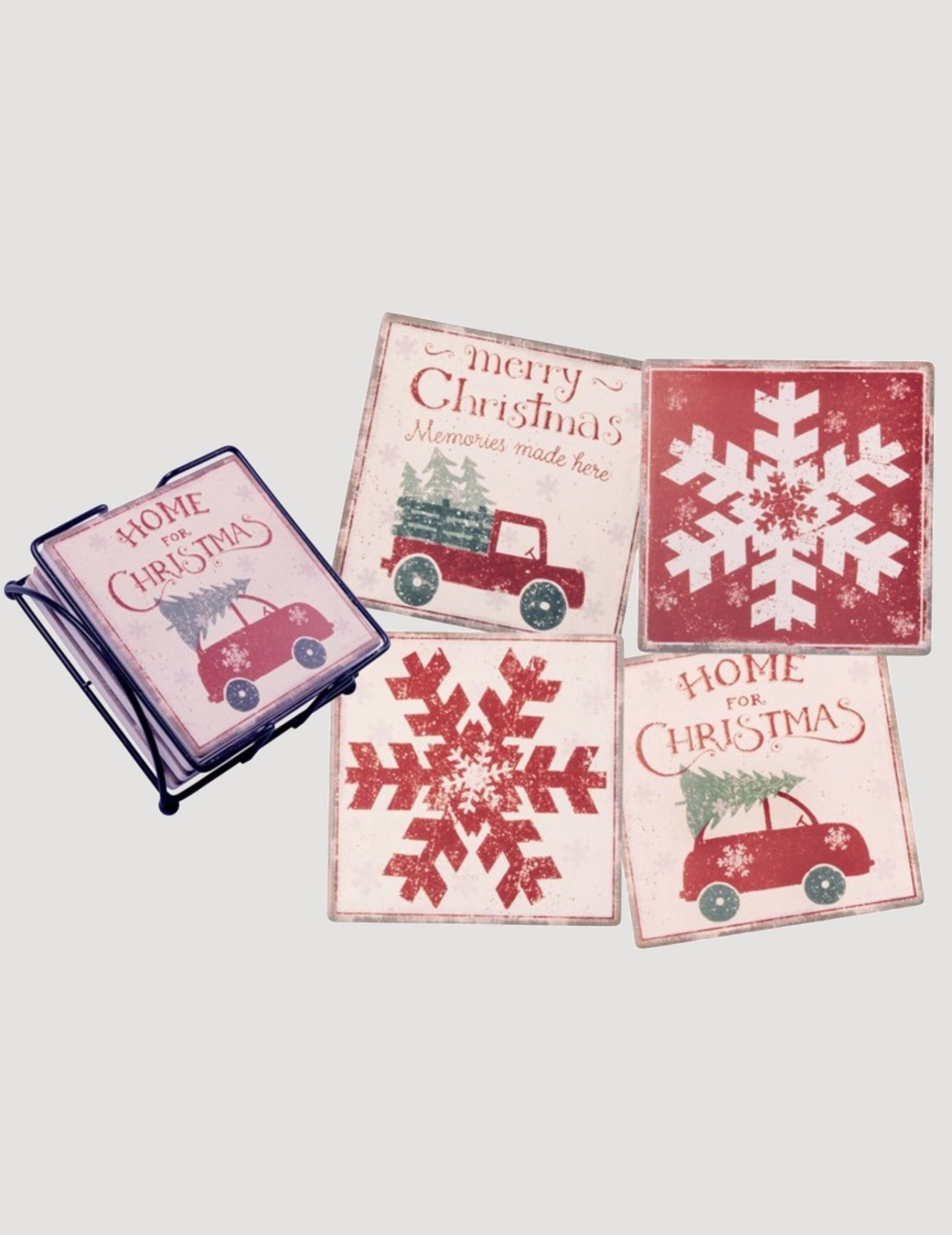 Primitives By Kathy Home For Christmas Coaster Set