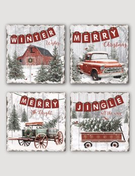 Conimar Art Country Christmas Tumbled Tile Coaster Set