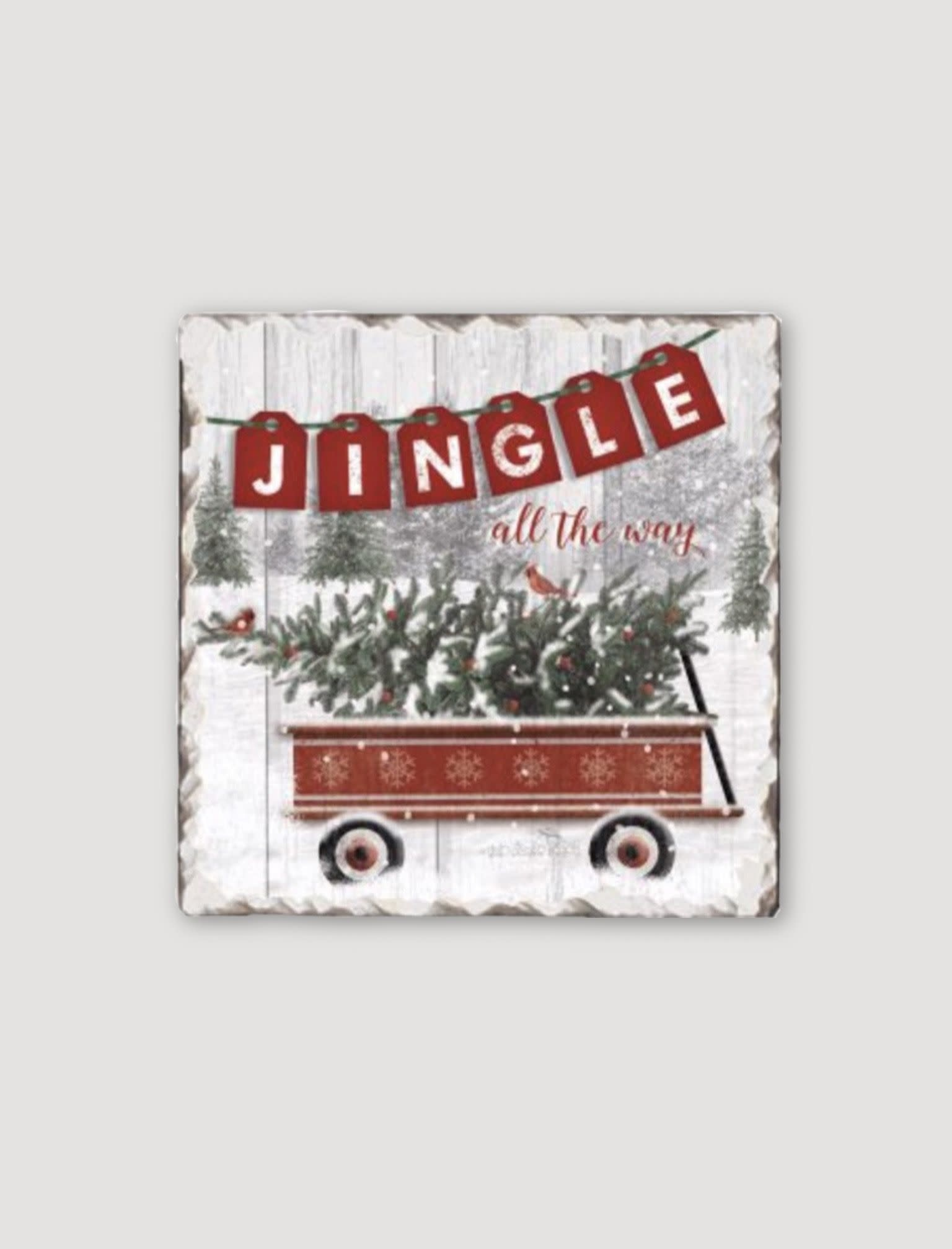 Conimar Art Country Christmas Tumbled Tile Coaster Set - Assorted