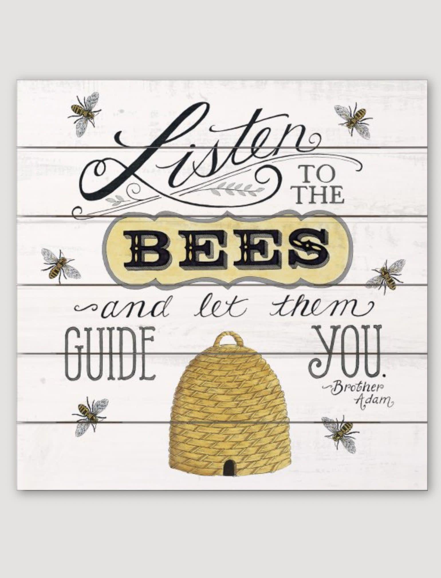"""Conimar Art Listen To The Bees Pallet Sign - 12"""" x 12"""""""