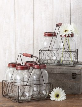 Sullivans Gift Jar Vases in Basket