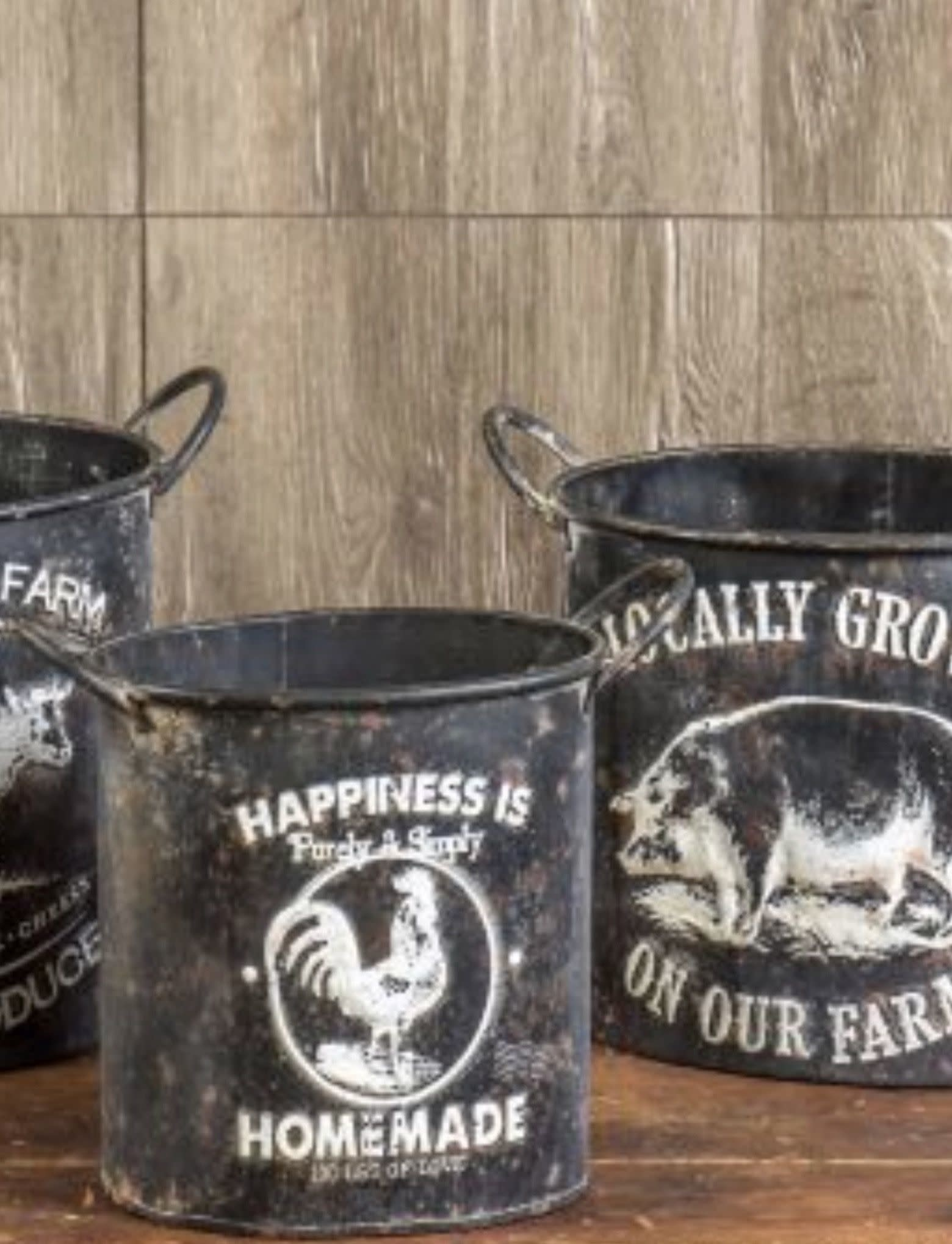 Home Collections By Raghu Happiness Is Embossed Farm Pot -Small