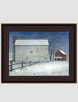 Bonnie Fisher Winter Blue Star Barn by Bonnie Fisher