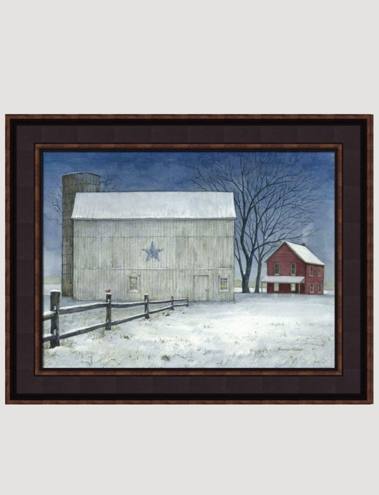 Bonnie Fisher Winter Blue Star Barn by Bonnie Fisher