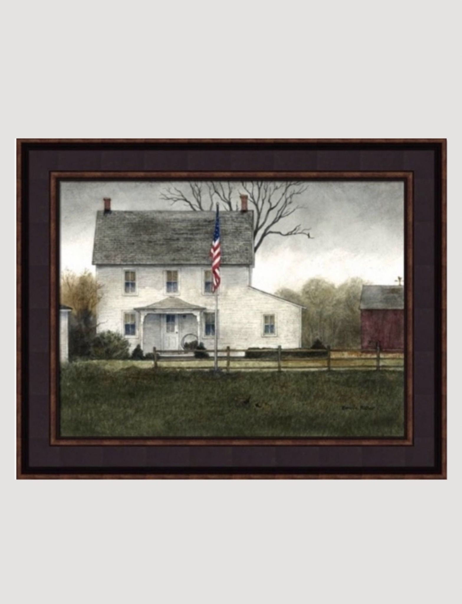 Bonnie Fisher White House with Flag Framed Art