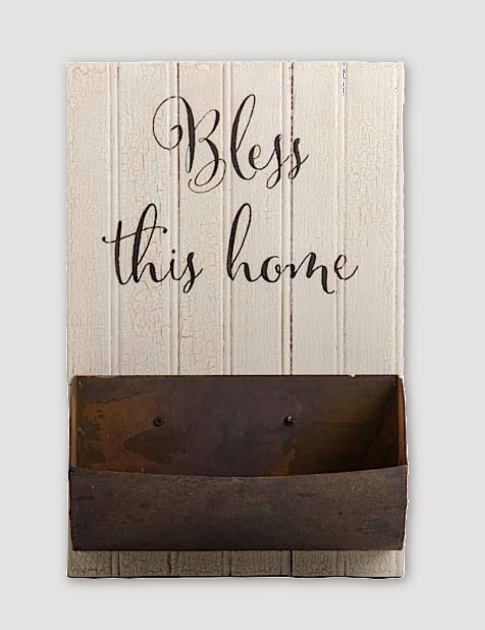 K & K Interiors Bless This Home Wall Sign with Rusty Metal Planter