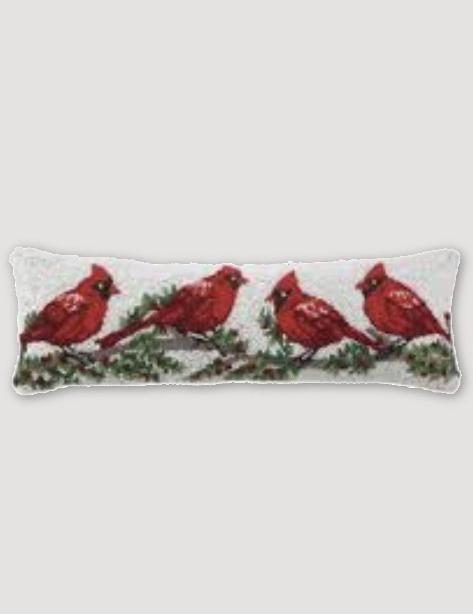 """Peking Handicraft Cardinal W/Winterberry Hook Pillow 8"""" x 24"""""""