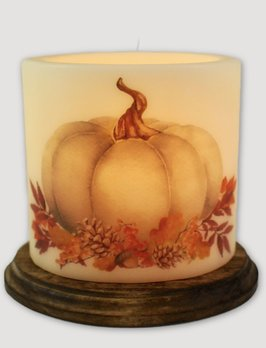 C R Designs White Fall Pumpkin Candle Sleeve - Oval