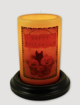 C R Designs Halloween Cat & Pumpkin Candle Sleeve
