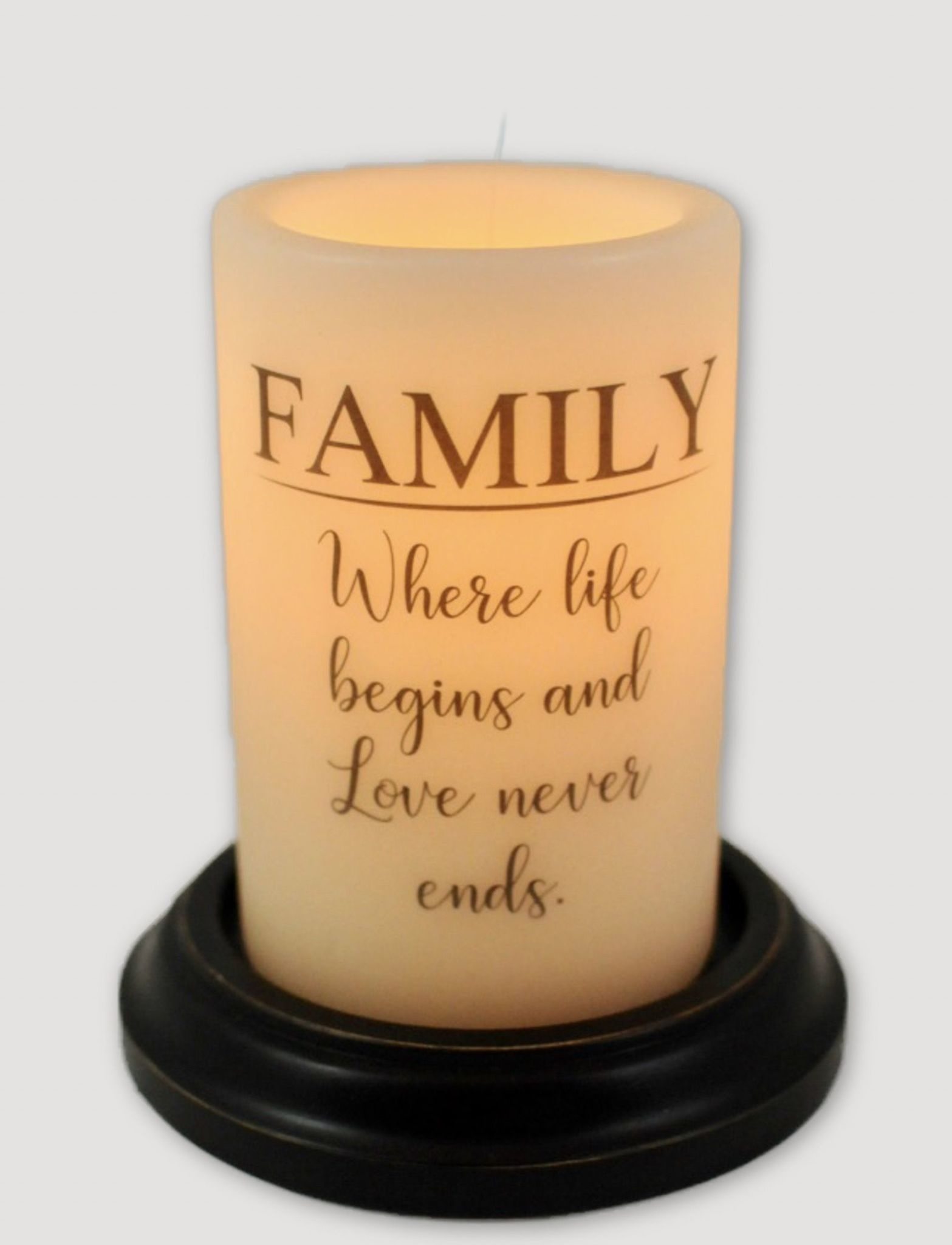 C R Designs Family Life Begins Candle Sleeve Antique Vanilla