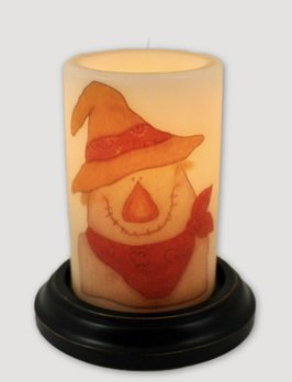C R Designs Scarecrow Face Candle Sleeve