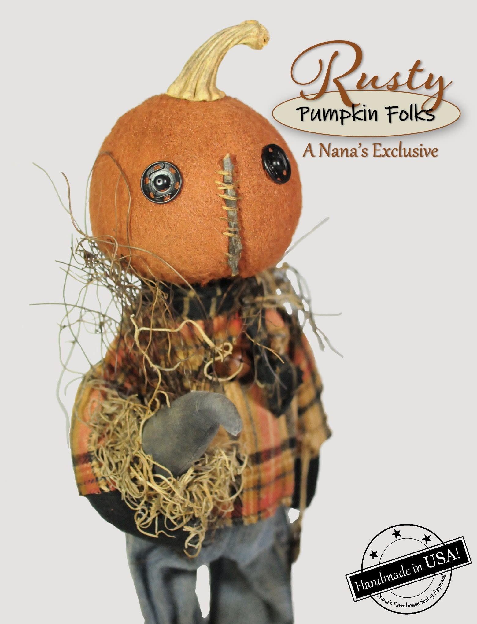 Rags A Muffin Rusty The Pumpkin Doll Holding Crow