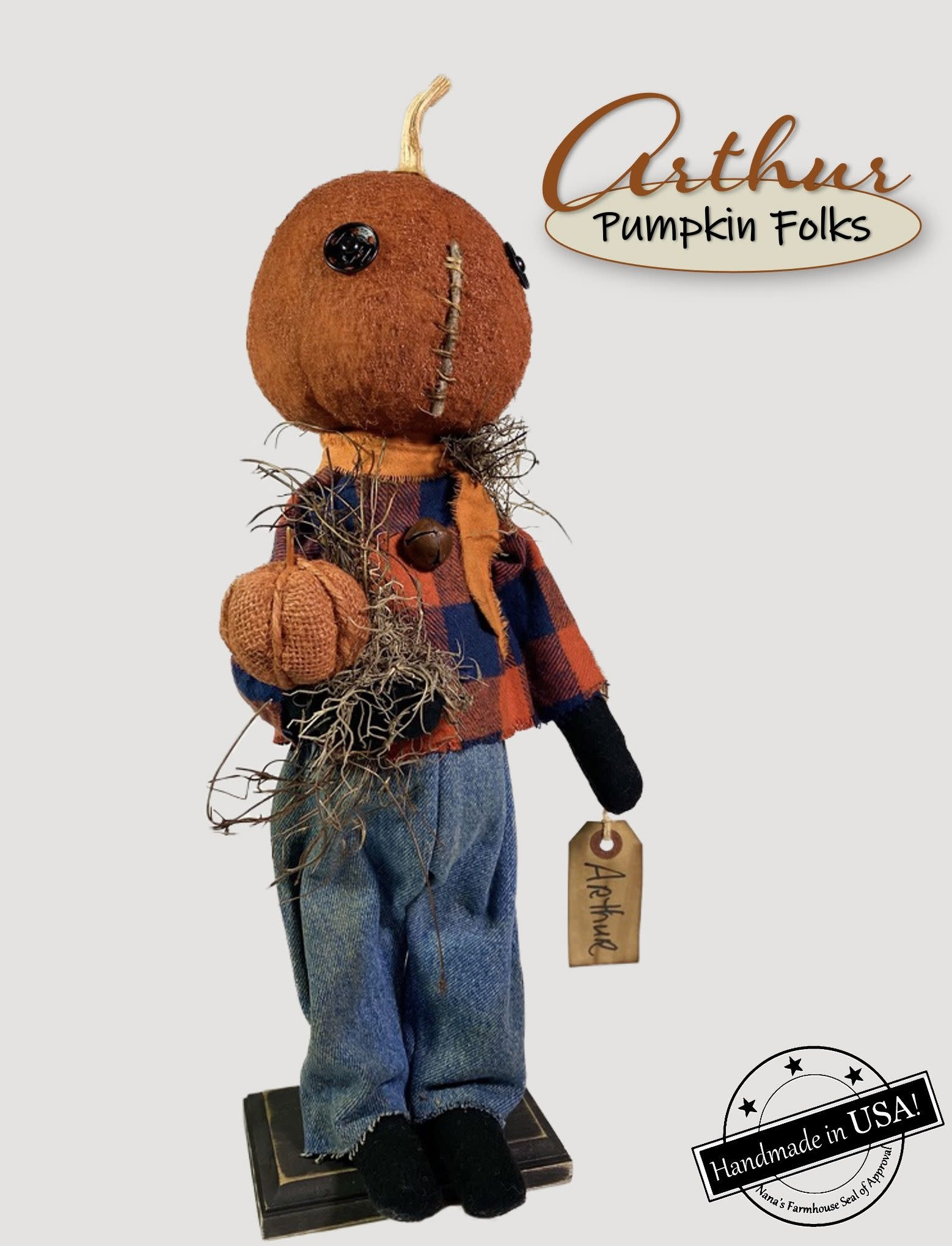 Nana's Farmhouse Arthur The Pumpkin Doll Holding Pumpkin