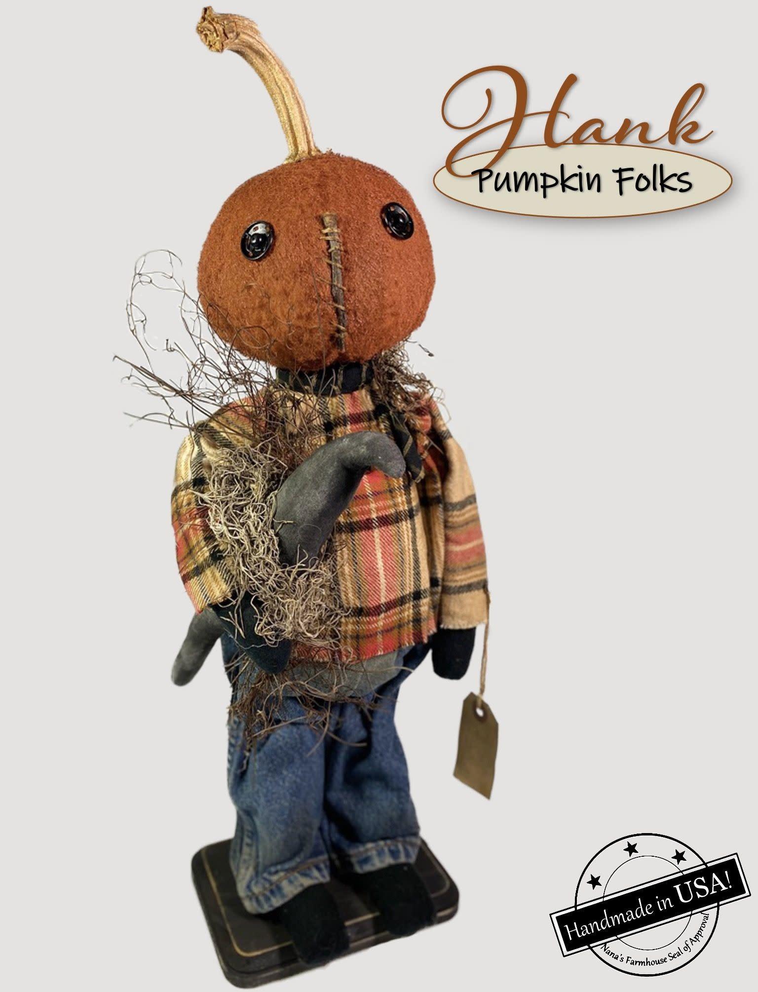Nana's Farmhouse Hank The Pumpkin Doll Holding Black Crow