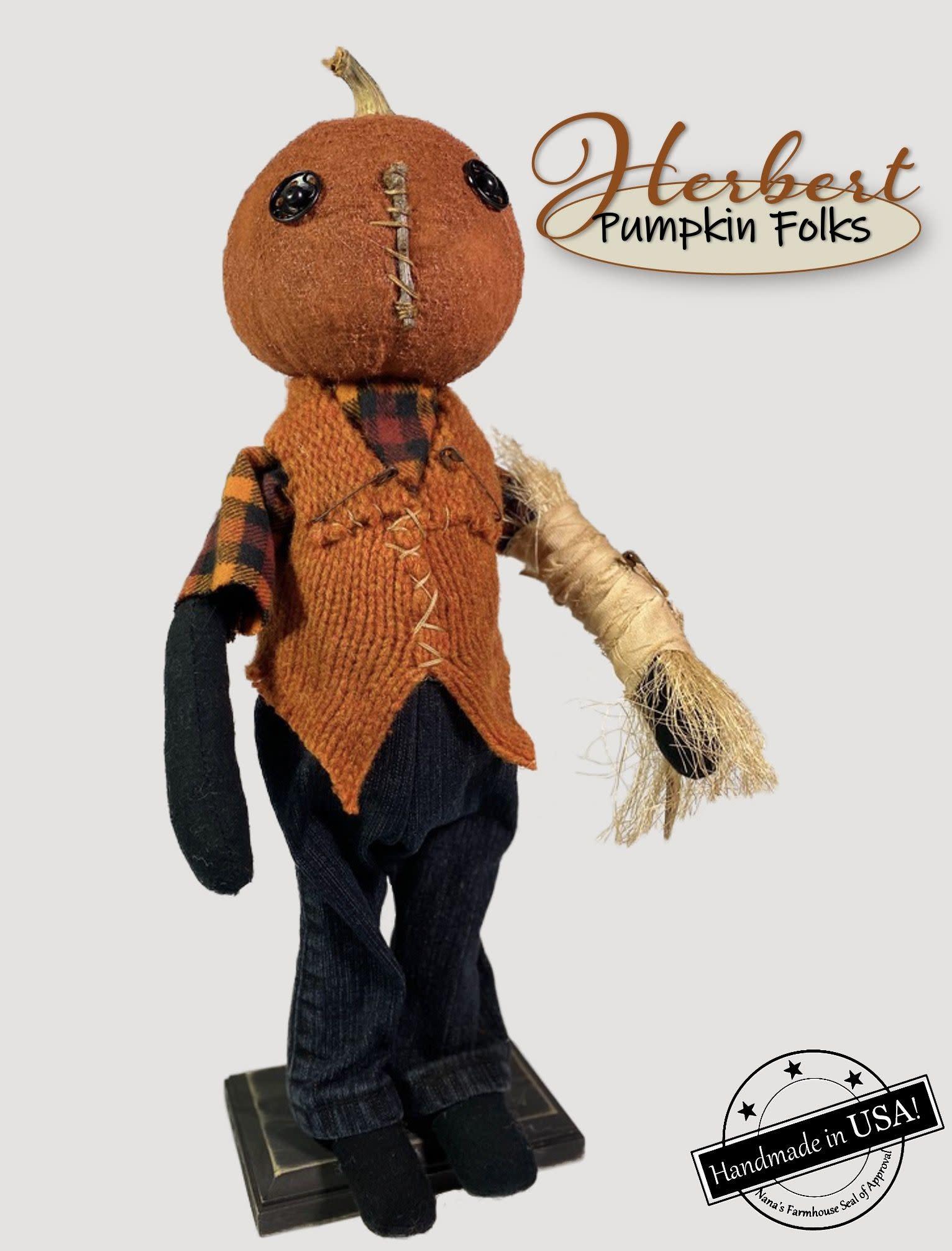 Nana's Farmhouse Herbert The Pumpkin Doll with Wrapped Arm