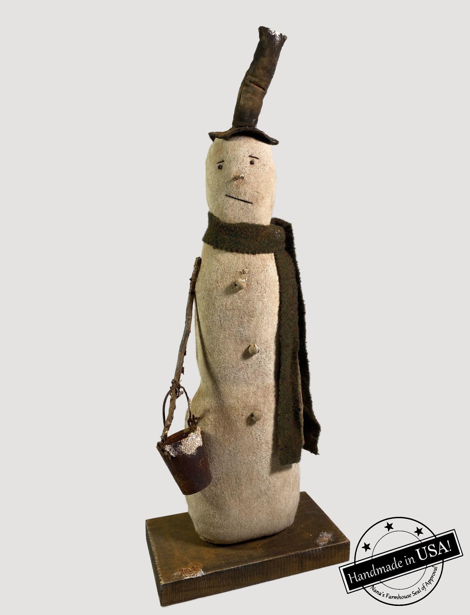 Nana's Farmhouse Nels The Snowman Holding Rusty Bucket