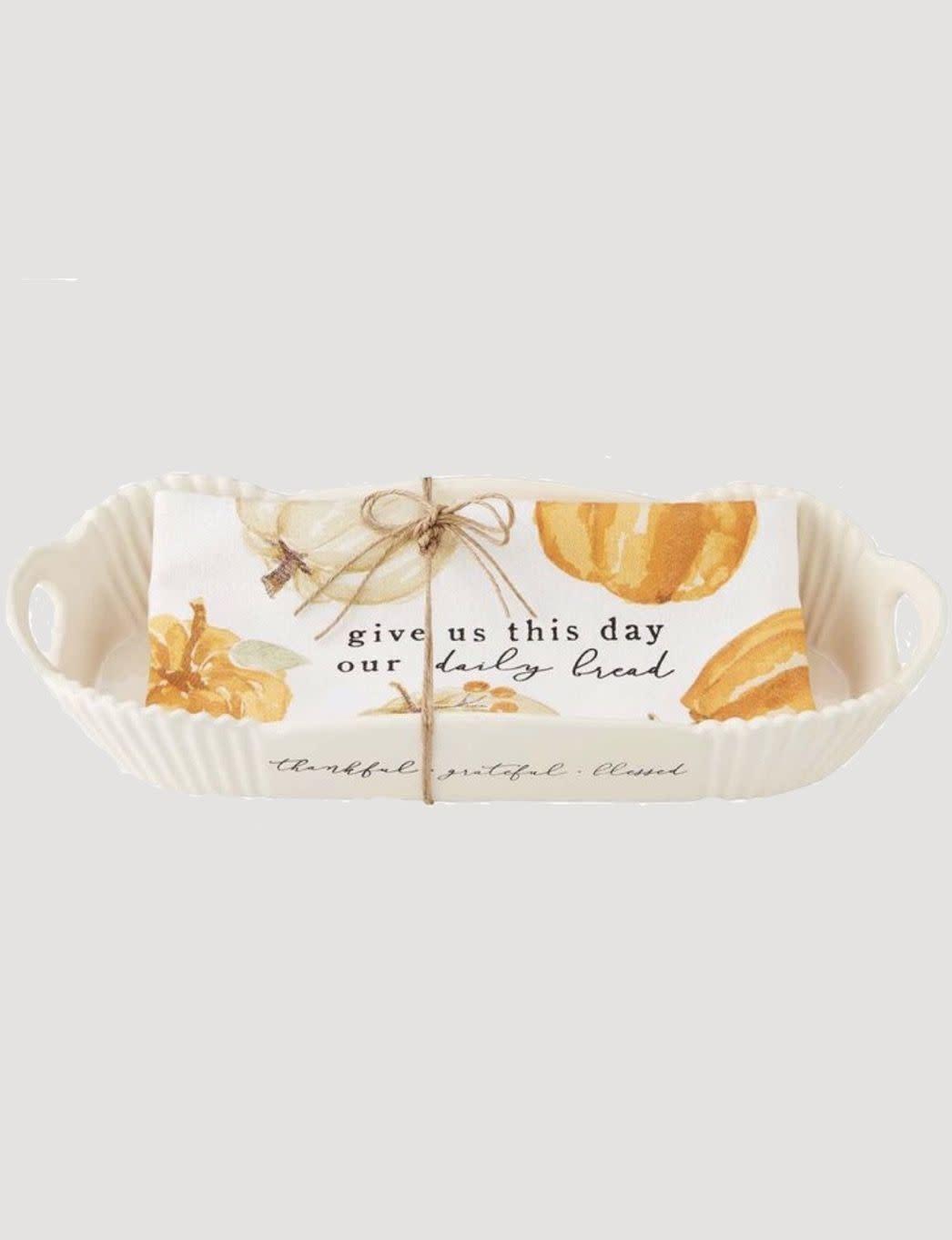 Mud Pie Pumpkin Bread Bowl & Towel Set