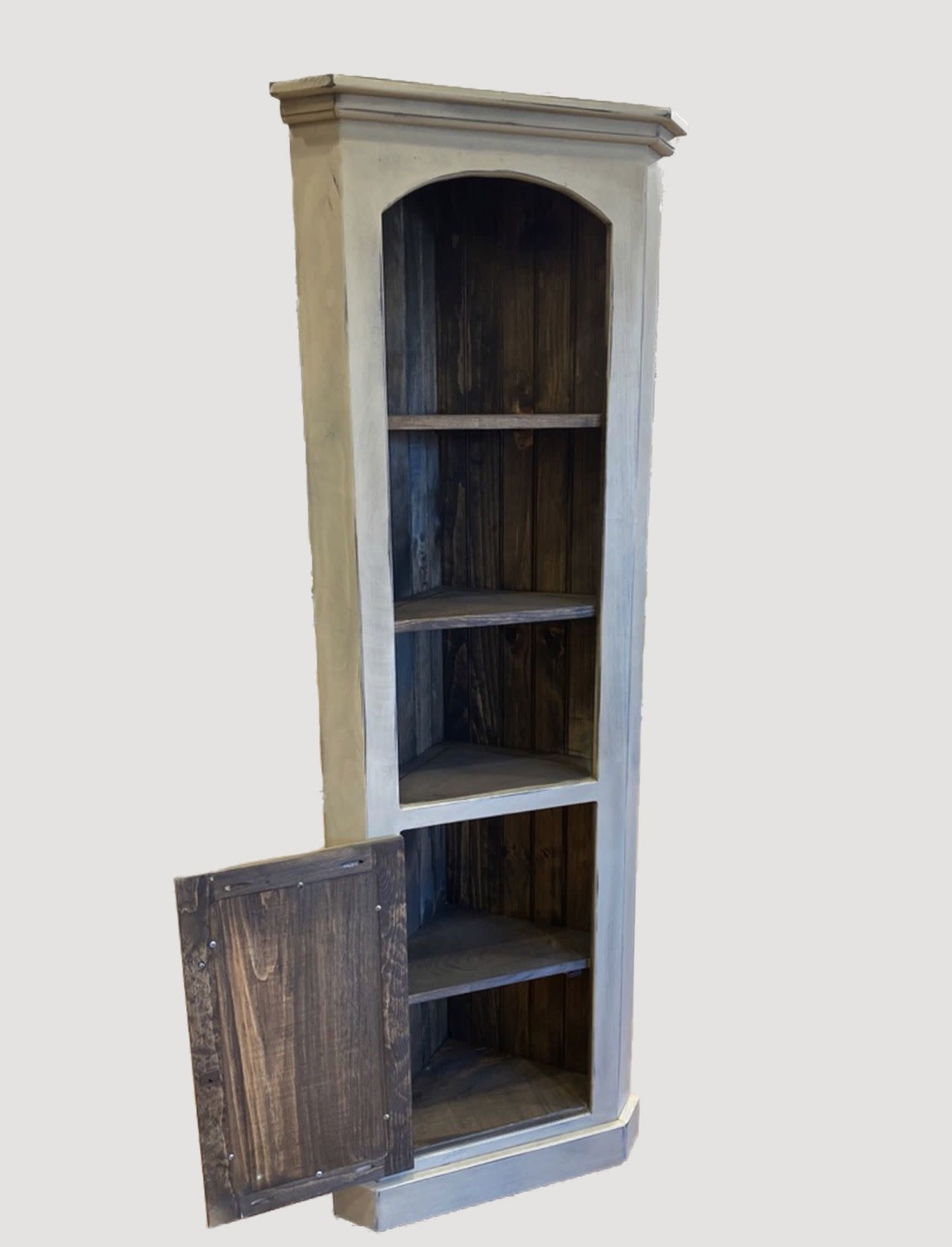 Nana's Farmhouse Corner Cabinet in Buttermilk